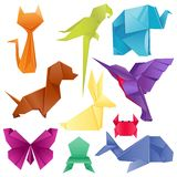 Animals origami set japanese folded modern wildlife hobby symbol creative decoration vector illustration. Animals origami set japanese folded modern wildlife Stock Photo