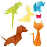 Animals origami set japanese folded modern wildlife hobby symbol creative decoration vector illustration. royalty free illustration