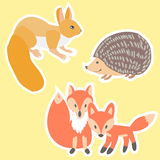 Animals painted Doodle stickers Royalty Free Stock Photography