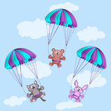 Animals on parachutes Royalty Free Stock Images
