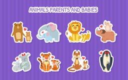 Free Animals Parents And Babies Stickers Set, Lion, Giraffe, Crocodile, Tiger, Rhinoceros, Elephanat, Penguin, Bear, Happy Stock Image - 190013681