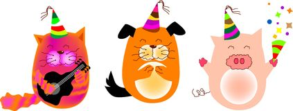 Animals party. A vector illustration for animals in party, cat, dog, pig. fun and cute Stock Photo