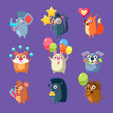 Animals With Party Elements Set Stock Photo