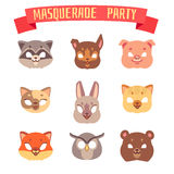 Animals party masks vector set Royalty Free Stock Images