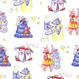 Animals party. New year and Christmas hand draw illustration. Seamless pattern. Characters on white background. Animals party. New year and Christmas hand draw vector illustration