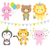 Animals in a party theme. Vector illustration of animals including rabbit, bear, lion, penguin, tiger, and pig at party Stock Images