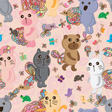 Animals pastel color cute seamless pattern Royalty Free Stock Photography