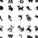 Animals pattern icons in black style. Big collection animals vector symbol stock illustration Stock Images
