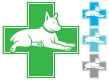 Animals. Pet first aid, veterinary symbol with dog Stock Photo