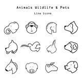 Animals and pets line icons Stock Image
