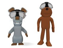 Animals with pilot goggles Royalty Free Stock Image