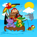 Animals pirates royalty free illustration