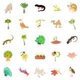 Animals and plants icons set, cartoon style. Animals and plants icons set. Cartoon set of 25 animals and plants vector icons for web isolated on white background Royalty Free Stock Photos