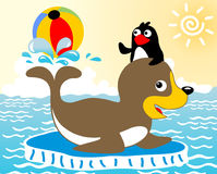 Animals play ball. Playing ball with seals and penguin in the cold sea, vector cartoon Royalty Free Stock Images
