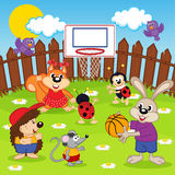 Animals play basketball. Vector illustration, eps Stock Photos