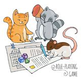 Animals playing board role-playing game. Vector illustration Royalty Free Stock Image