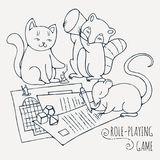 Animals playing board role-playing game. Vector illustration Stock Photos