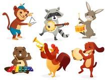 Animals playing instruments. Animals playing intruments,  illustration Stock Photo