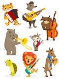 Animals playing intruments. Illustration Royalty Free Stock Photo
