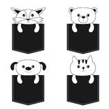 Animals in the pocket. Cute cartoon dog, bear, fox, kitten contour kitty character. Dash line. Pet animal collection.  Stock Image