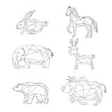 Animals polygonal shape design Stock Image