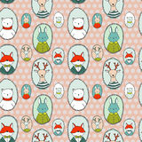 Animals portraits pattern polka dots Stock Photography