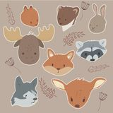 Cute forest animals sticker set. Animals portraits sticker set moose fox wolf rabbit deer stoat squirrel Royalty Free Stock Photo