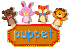 Animals puppets with sign Stock Photo