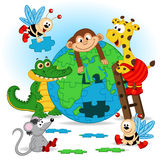 Animals puzzle earth Stock Photos