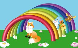 Animals with rainbow Royalty Free Stock Images