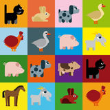 Animals raster naive caricature. Background with caricatures of animals from the farm Stock Photo