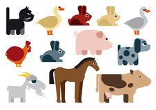 Animals raster naive caricature. Caricatures of animals from the farm Royalty Free Stock Image