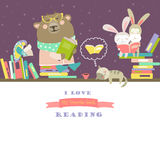 Animals reading books on bookshelves. Vector cute animals reading books on bookshelves Royalty Free Stock Photos