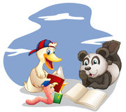 Animals reading books. Illustration of the animals reading books on a white background Royalty Free Stock Images