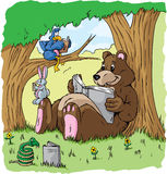 Animals reading vector illustration