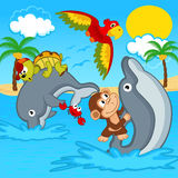 Animals riding on dolphins Royalty Free Stock Photo