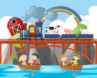 Animals riding on train and kids rowing boats Stock Photography