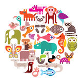 Animals round vector illustration Royalty Free Stock Image