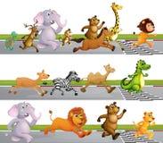 Animals Running Race at Finish Line. Illustration Royalty Free Stock Photos