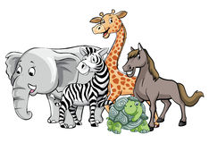 Animals safari group pose Royalty Free Stock Photo