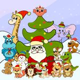 Animals and Santa Claus on Christmas Day.  royalty free illustration