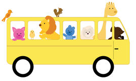 Animals in school bus Stock Image