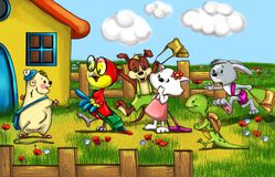 Animals at school. Rabbit, cat, dog, parrot and guinea pig go to school royalty free illustration