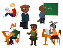 Animals schoolchildren Stock Images