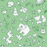 Animals 100. Seamless forest kids pattern for kids and design. With the image of a bear, rabbit, fox, butterfly, dragonfly, frog, owl, hedgehog, trees vector illustration