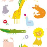 Animals seamless pattern, funny design, graphic illustration Royalty Free Stock Image
