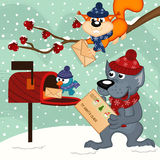 Animals send letters to Santa Claus Royalty Free Stock Image