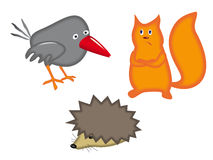 Animals set. Funny animals, hedgehog crow and  squirrel,vector illustration Royalty Free Stock Photography