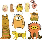 Animals set. Set of vector little animals Stock Images