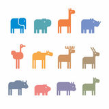 Animals set. Set of animal icons and cartoons of wild animals Royalty Free Stock Photo